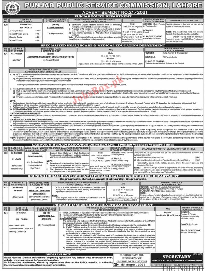 PPSC Punjab Punjab Police Jobs 2021 - PPSC Stenographers Jobs - Ppsc.gop.pk
