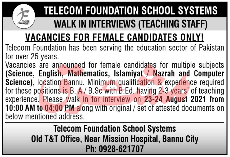 Telecom Foundation School Systems Bannu Jobs 2021