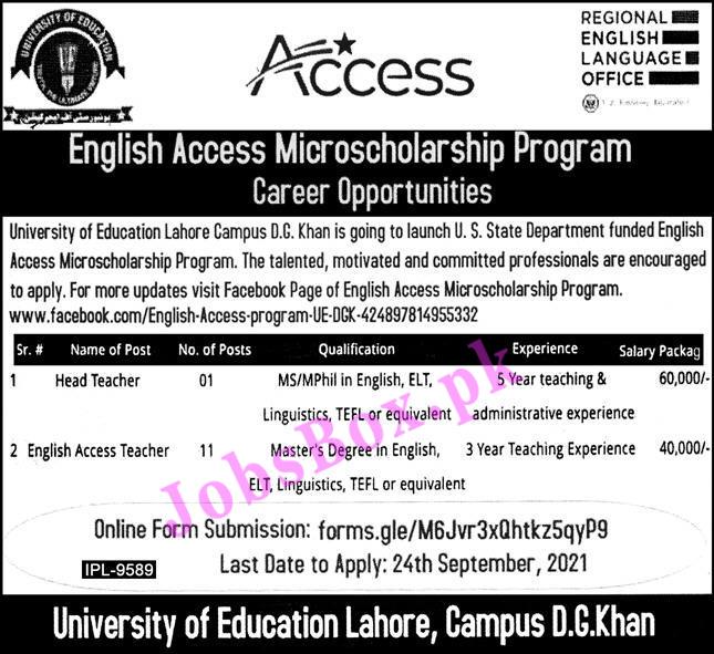 Enlgish Access Program Jobs in University of Education Lahore
