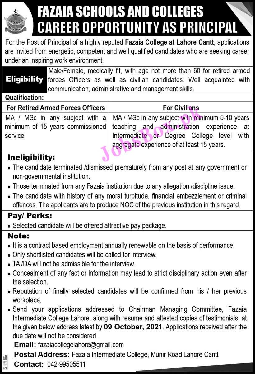 Fazaia Schools and Colleges Jobs 2021 All Advertisements