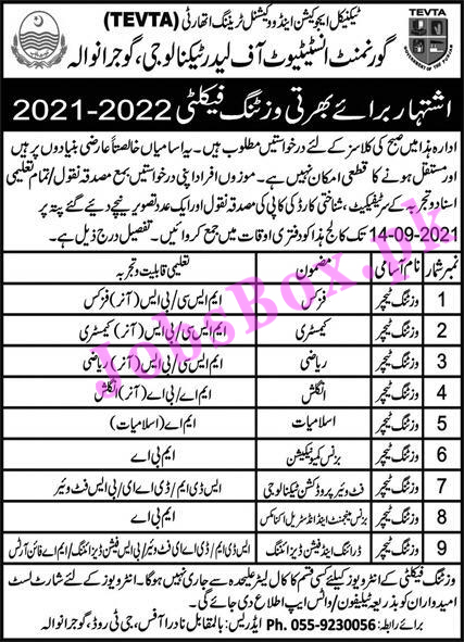 Government Institute of Leather Technology Gujranwala Jobs 2021