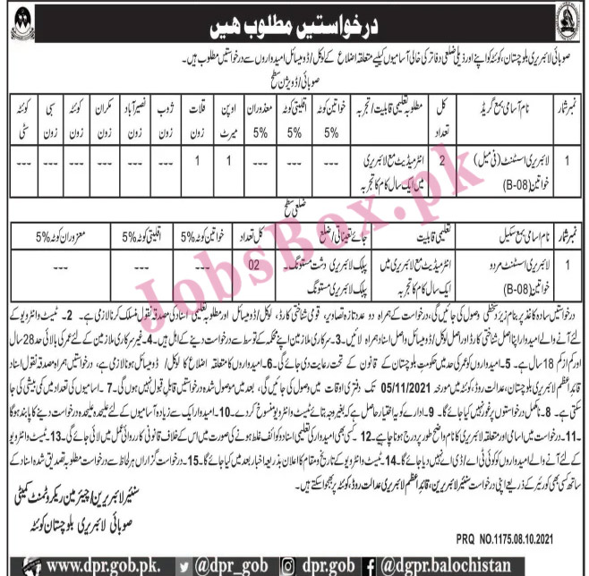 Latest Balochistan Provincial Library Quetta Jobs 2021