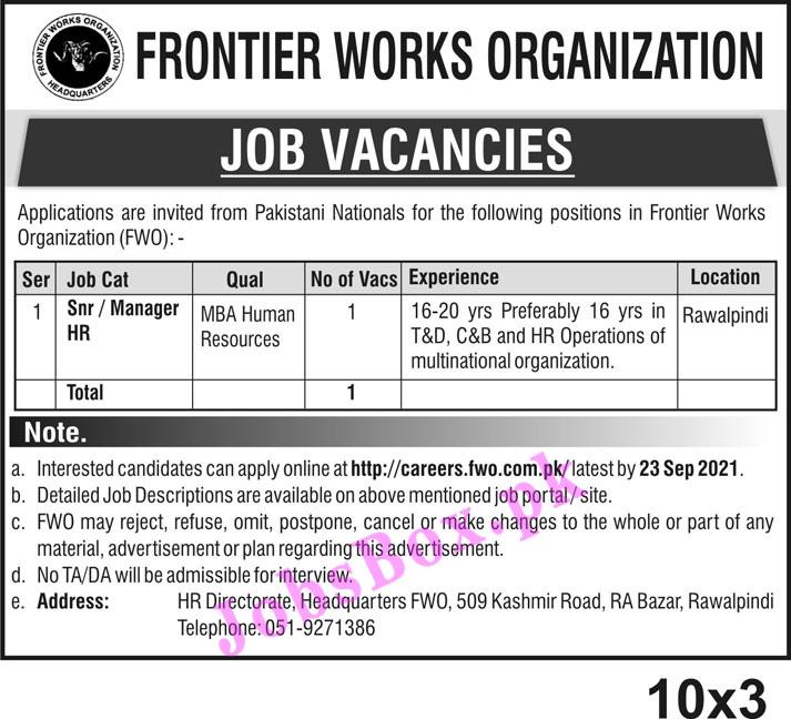 Latest FWO Jobs 2021