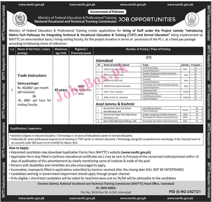Ministry of Federal Education Islamabad Jobs 2021 - www.nvttc.gov.pk