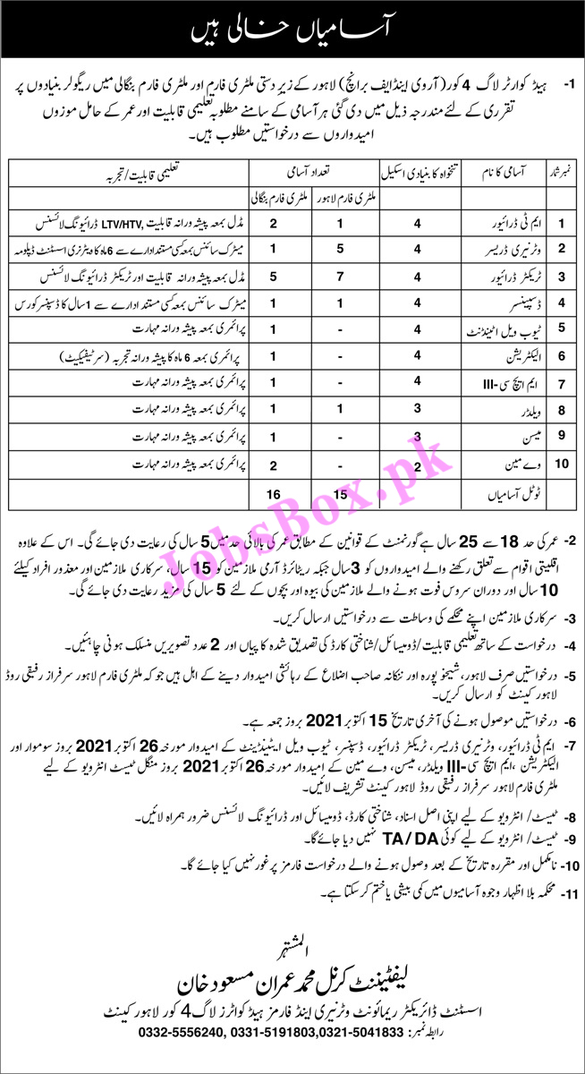 Pak Army Remount Veterinary & Forms Lahore Jobs 2021