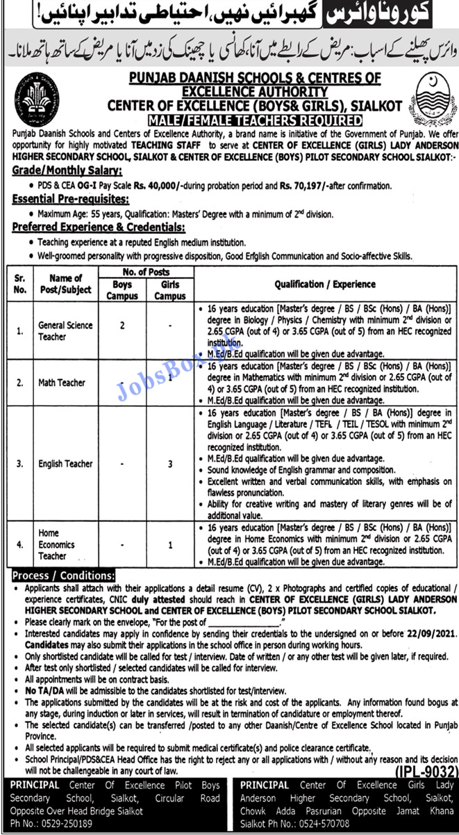 Punjab Daanish Schools Sialkot Jobs 2021
