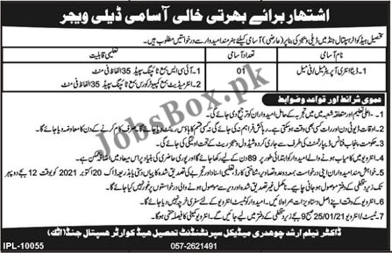 Tehsil Headquarter Hospital Jand Attock Jobs 2021