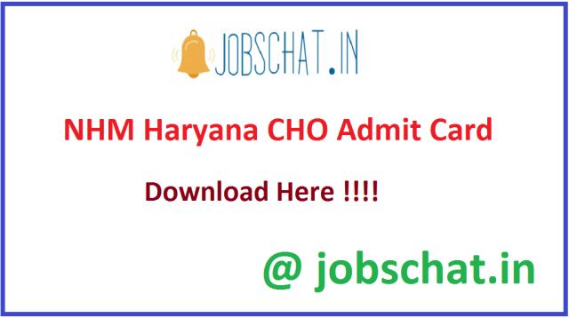 NHM Haryana CHO Admit Card