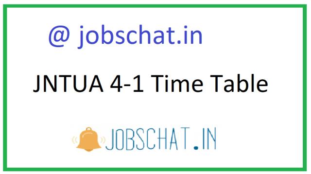JNTUA 4-1 टाइम टेबल