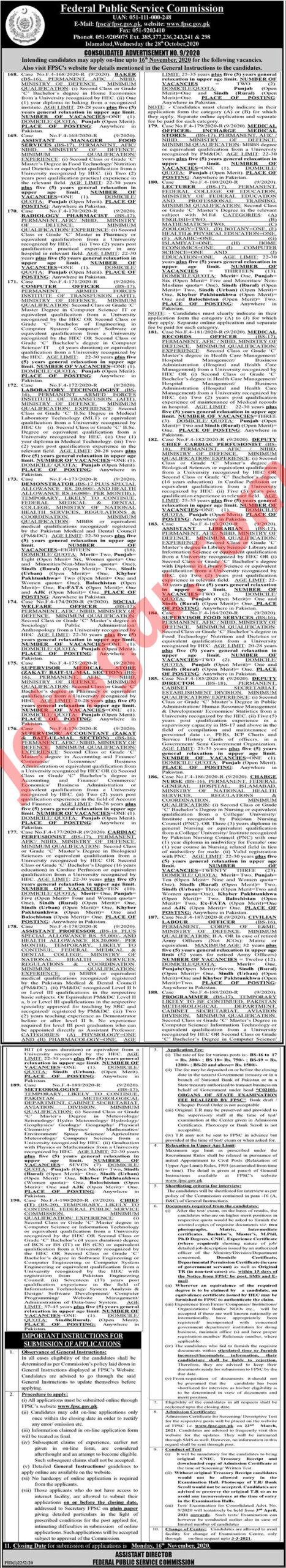 FPSC Jobs Advertisement No 9 2020 Federal Public Service Commission