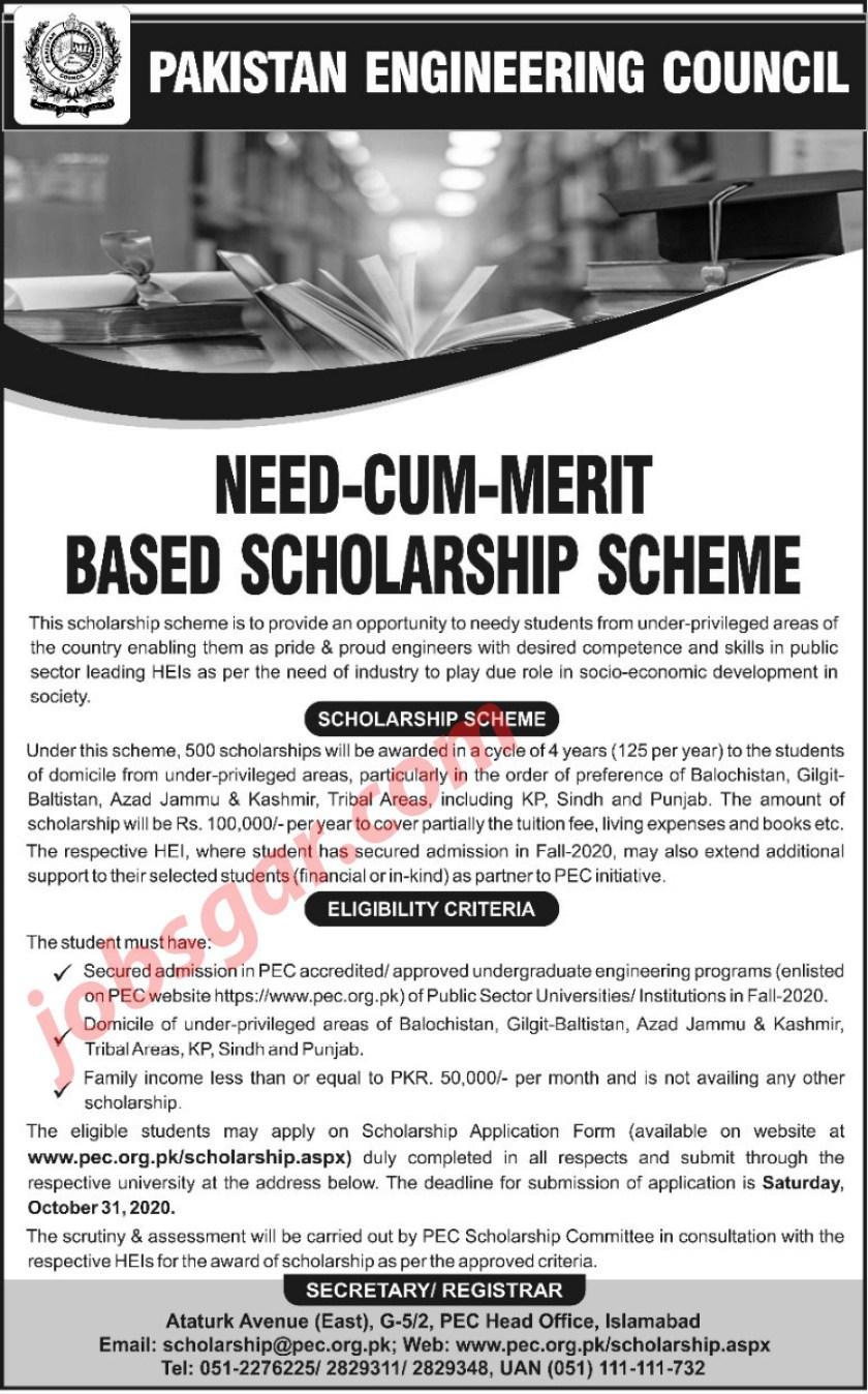 PEC Scholarship Scheme 2020 Merit cum Need Based