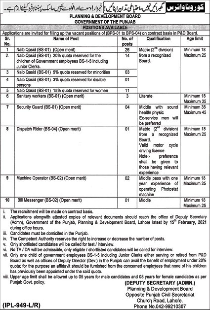 Planning & Development Board Punjab Jobs 2021