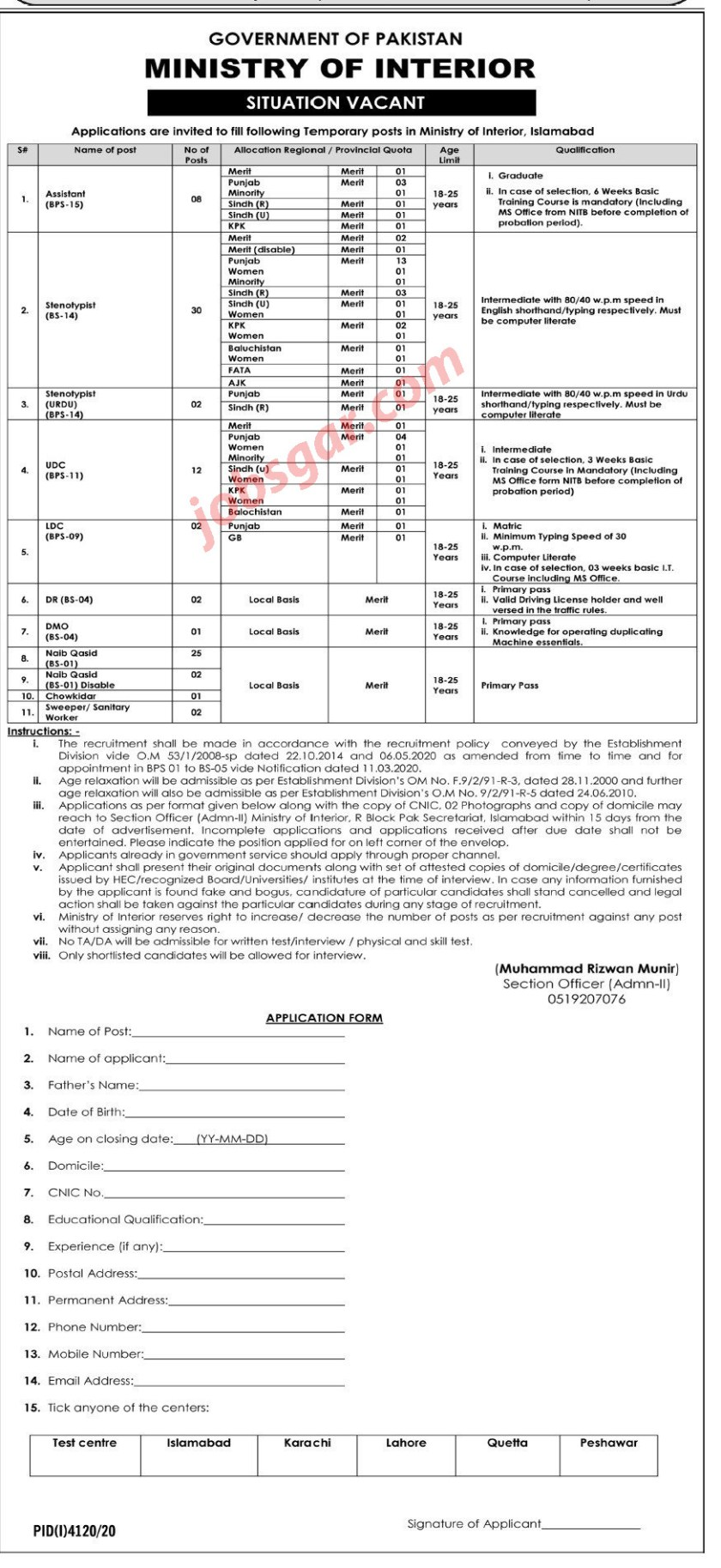 Ministry of Interior Islamabad Jobs 2021
