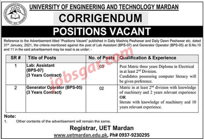 University of Engineering & Technology UET Mardan Jobs 2021