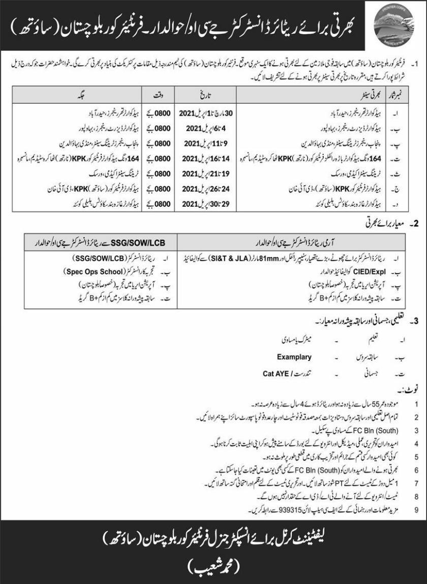 Frontier Core FC Balochistan South Jobs 2021