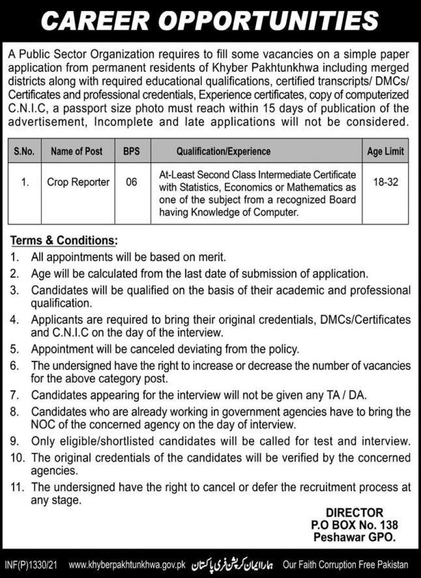 Public Sector Organization PO Box 138 Peshawar Jobs 2021