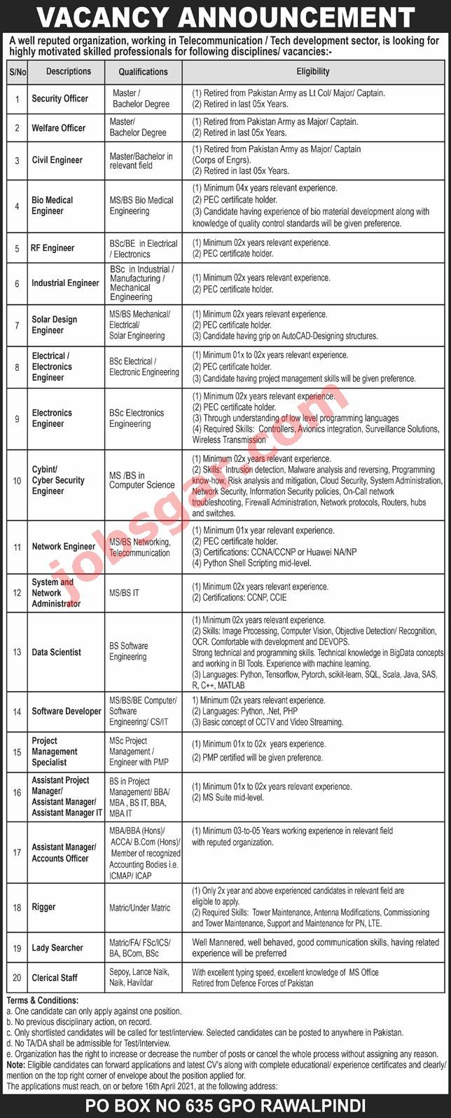 Public Sector Organization PO Box 635 Rawalpindi Jobs 2021