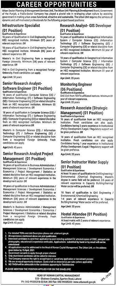 The Urban Unit Planning & Development Board Lahore Jobs 2021