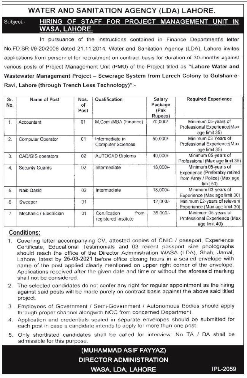 Water and Sanitation Agency WASA LDA Lahore Jobs 2021
