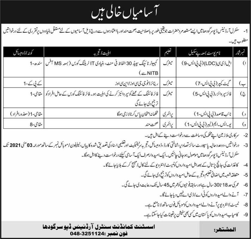 Pak Army COD Sargodha Jobs 2021 Central Ordnance Depot