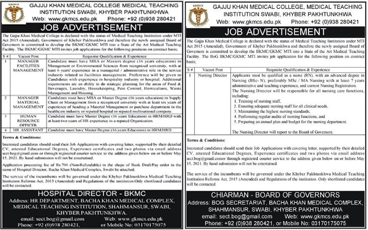 Gajju Khan Medical College GKMCS Jobs 2021