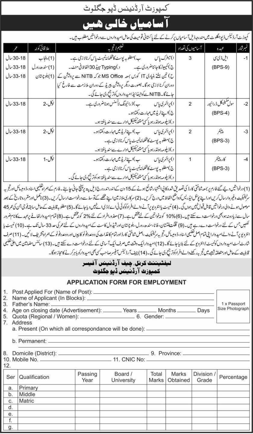 Pakistan Army Composite Ordnance Depot Jaglot Jobs 2021