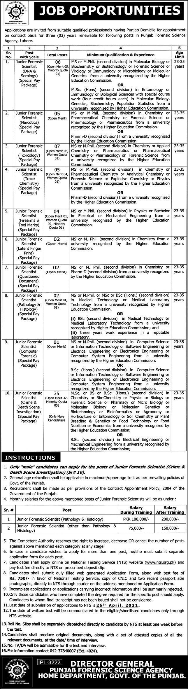 Punjab Forensic Science Agency PFSA Jobs 2021