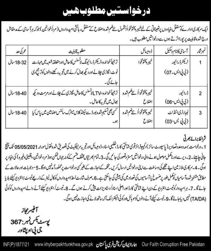 Government Organization PO Box 367 Peshawar Jobs 2021
