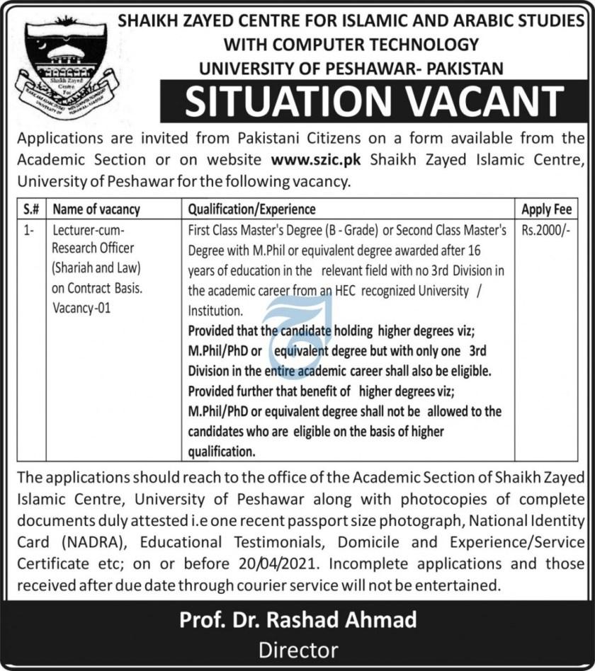 University of Peshawar UOP Khyber Pakhtunkhwa Jobs 2021
