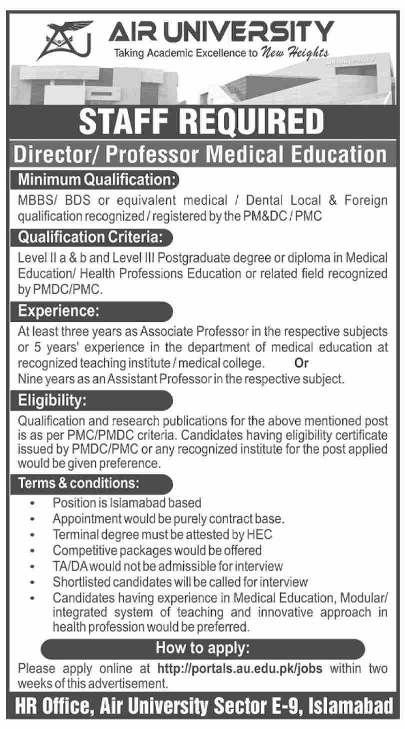 Air University AU Islamabad Jobs 2021