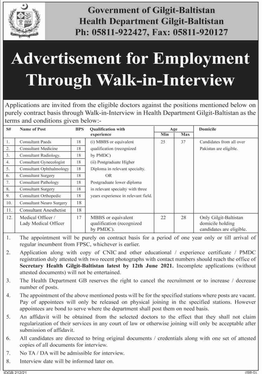 Health Department Gilgit Baltistan Jobs 2021