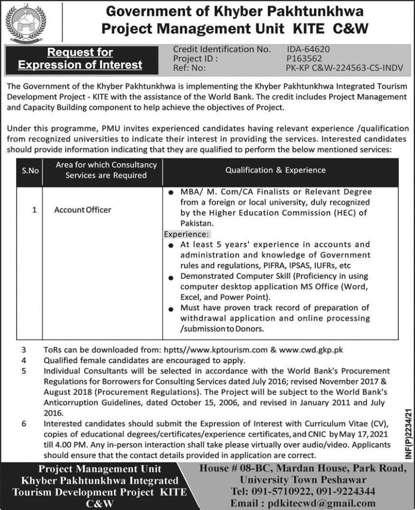 Khyber Pakhtunkhwa Integrated Tourism Development Project KITE Jobs 2021