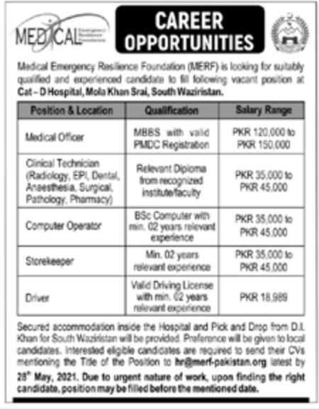 Medical Emergency Resilience Foundation MERF Jobs 2021