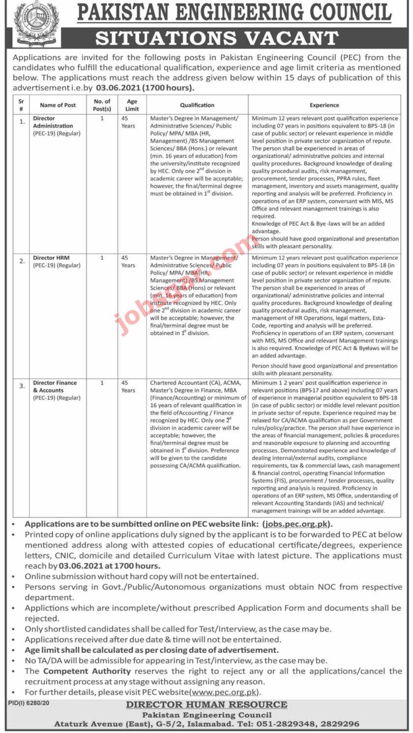Pakistan Engineering Council PEC Jobs 2021