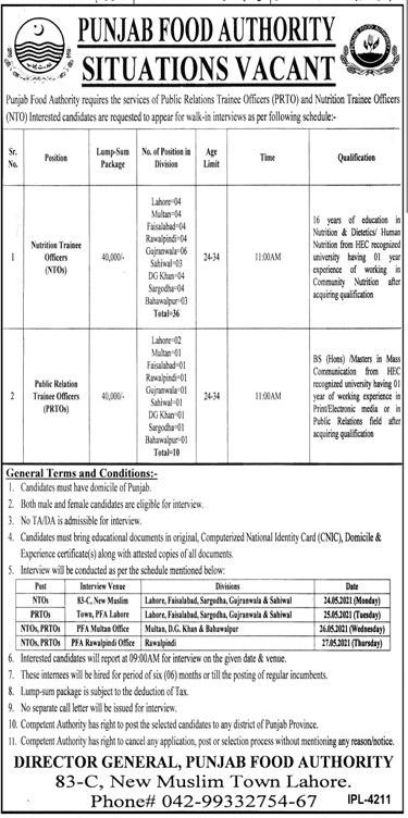 Punjab Food Authority Lahore PFA Jobs 2021