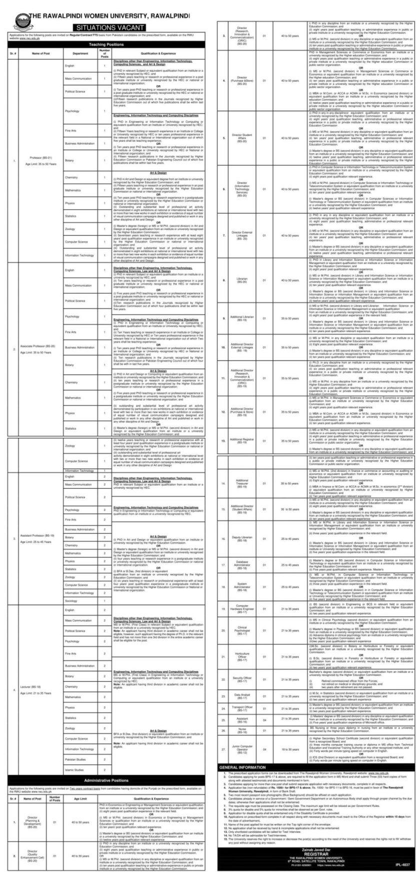 Rawalpindi Women University RWU Jobs 2021
