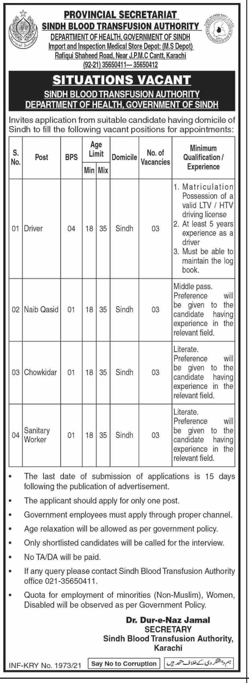Sindh Blood transfusion Authority SBTA Jobs 2021