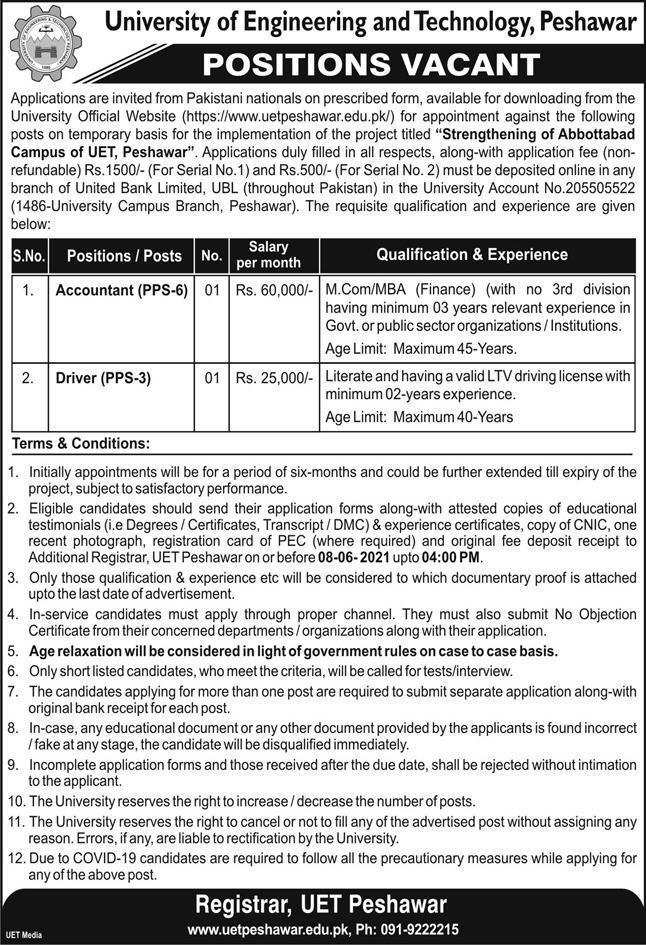 University of Engineering and Technology UET Peshawar Jobs 2021