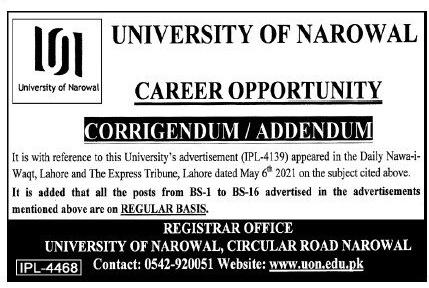 University of Narowal Punjab UON Jobs 2021