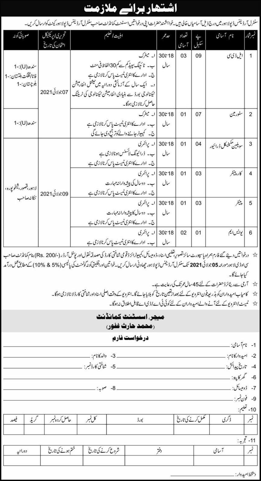 Central Ordnance Depot COD Lahore Jobs 2021