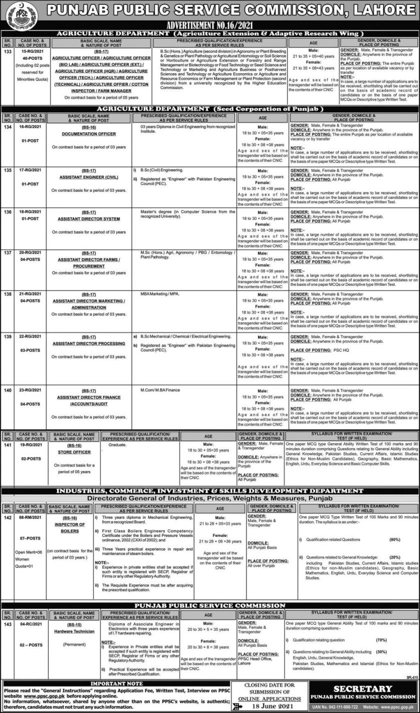 Agriculture Department Punjab jobs 2021 in Lahore