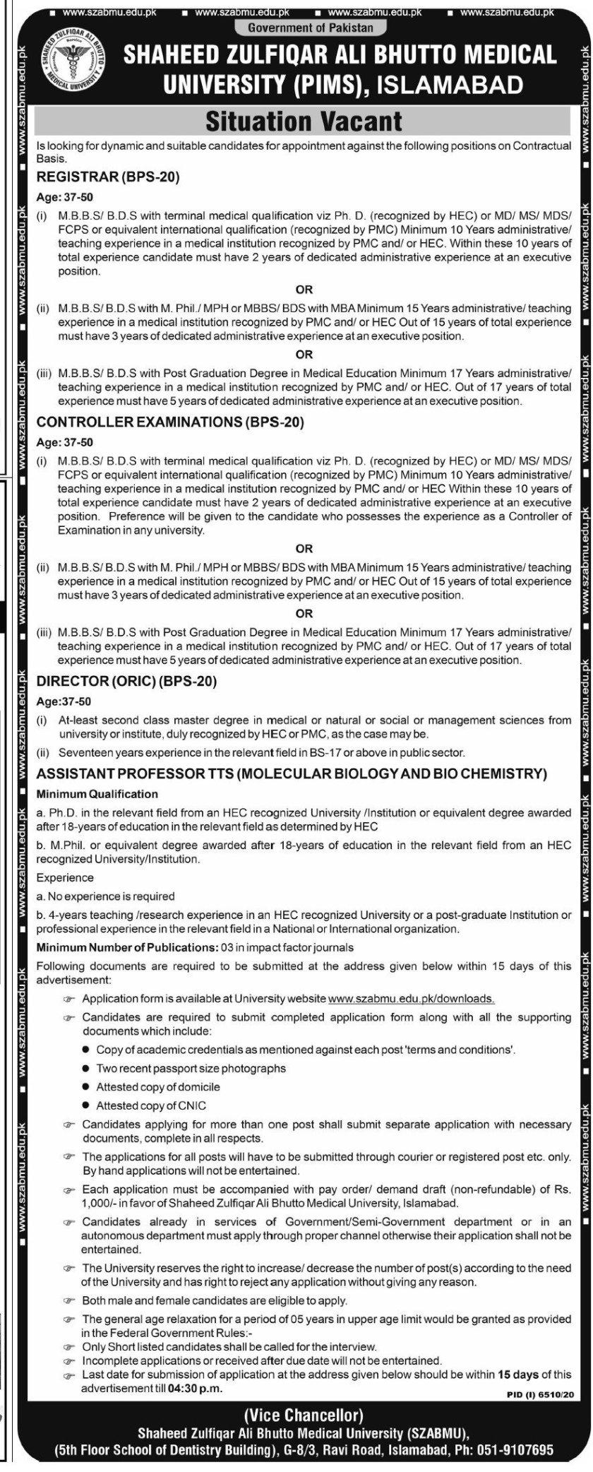 Shaheed Zulfiqar Ali Bhutto Medical University Islamabad SZABMU Jobs 2021