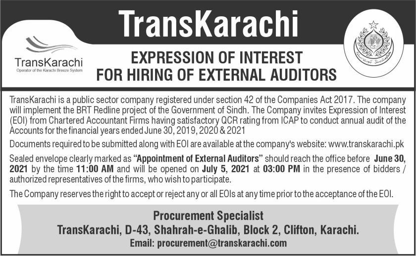 Karachi Breeze System TransKarachi Jobs 2021
