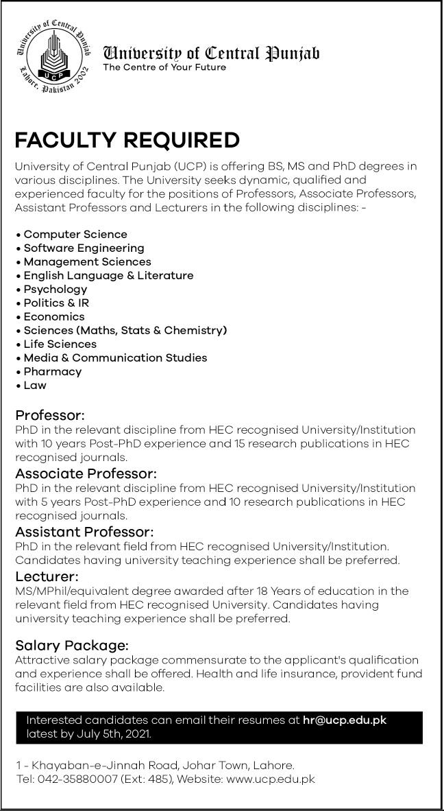 University of Central Punjab UCP Jobs 2021