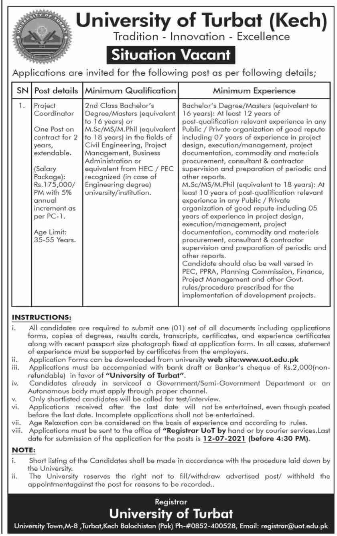 University of Turbat Balochistan UOT Jobs 2021
