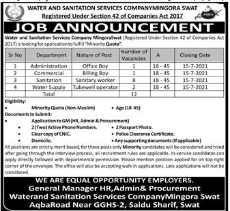 Water & Sanitation Services Company WSSC Swat Jobs 2021