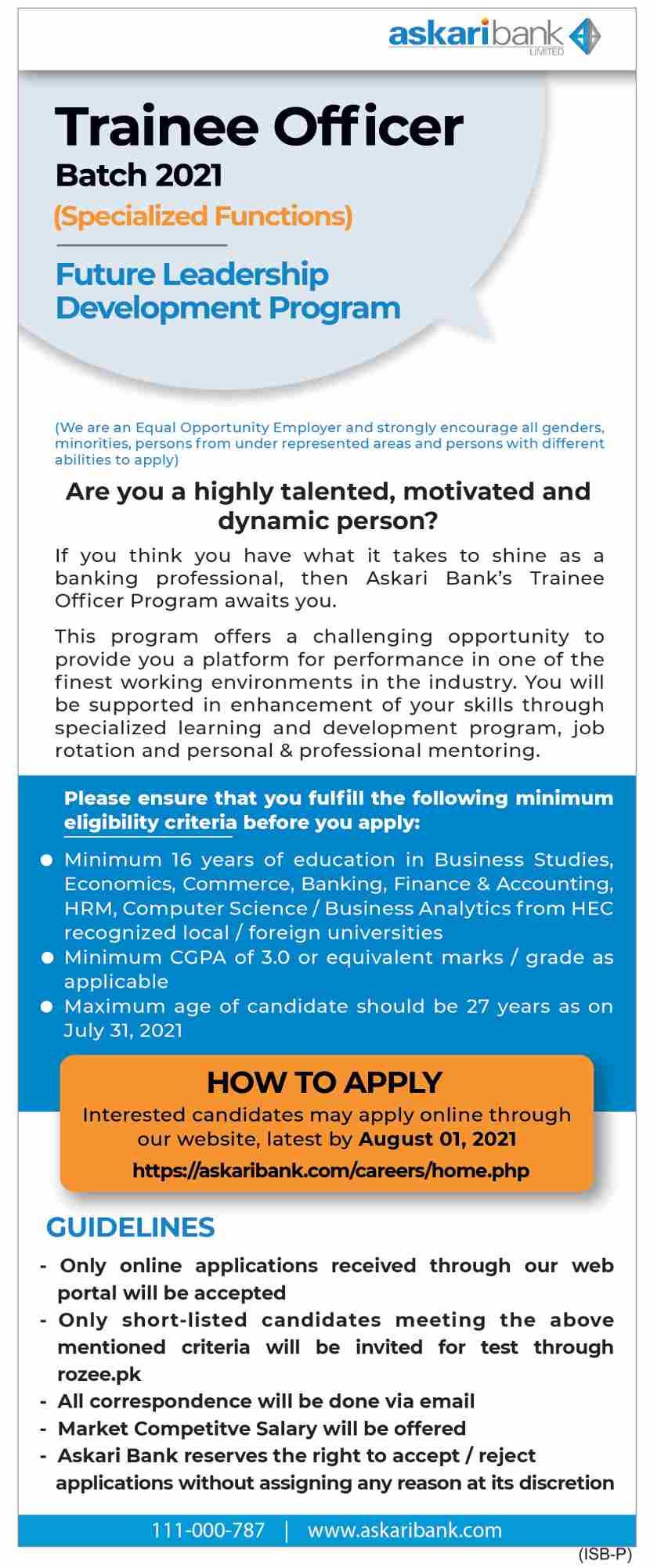 Askari Bank Limited Askari Bank Jobs 2021