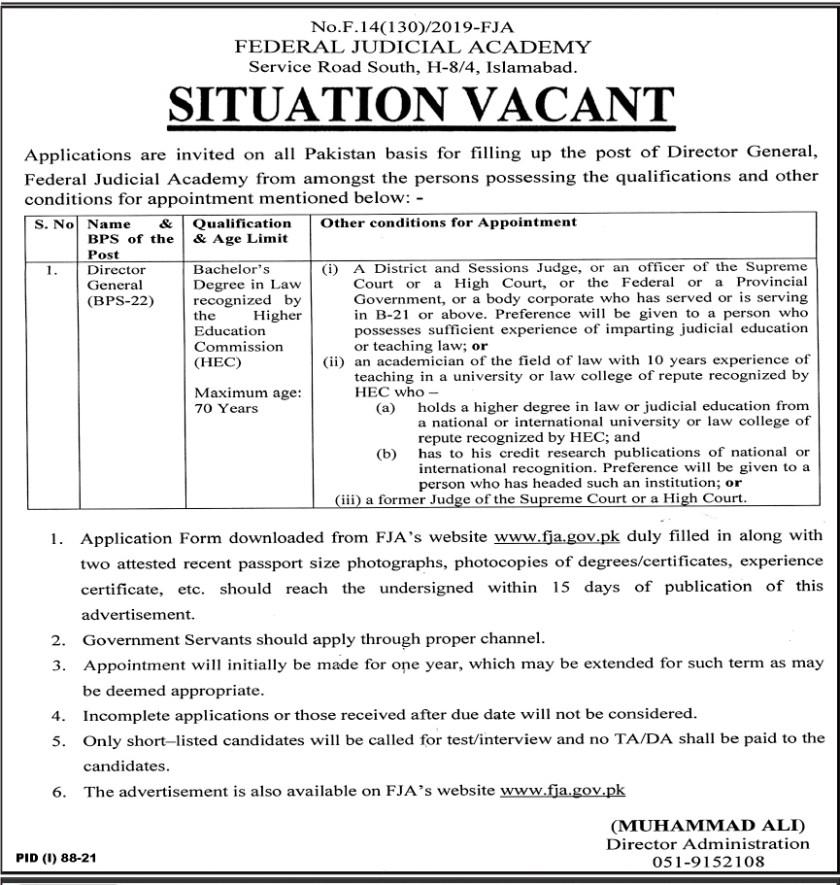 Federal Judicial Academy Islamabad FJA Jobs 2021