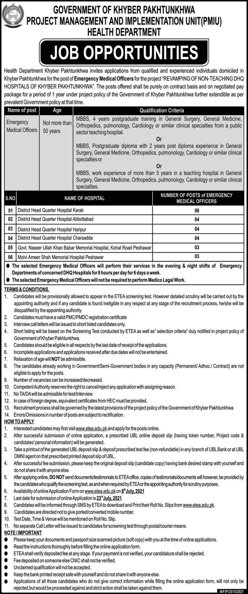 Health Department KPK Jobs 2021