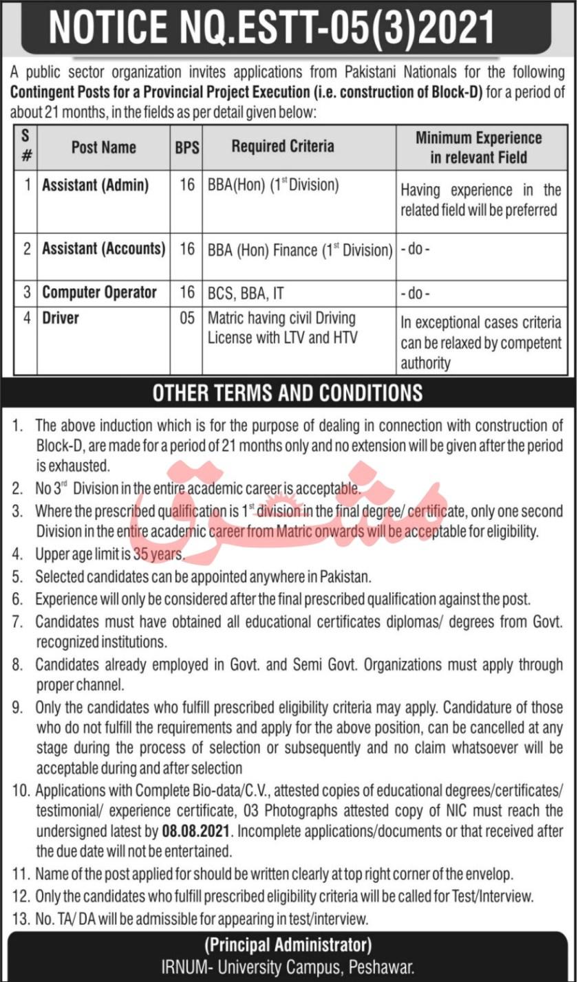 Institute of Radiotherapy & Nuclear Medicine IRNUM Hospital Peshawar Jobs 2021